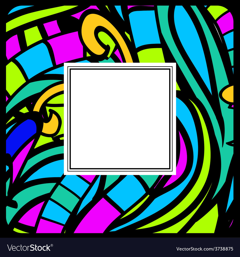 Stained-glass abstract frame vector | Price: 1 Credit (USD $1)