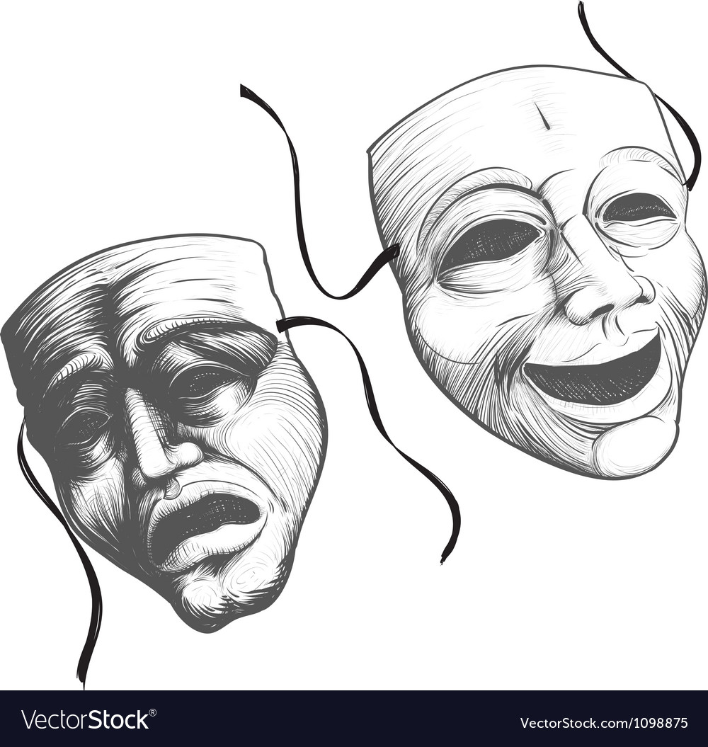 Two theatre masks vector | Price: 1 Credit (USD $1)