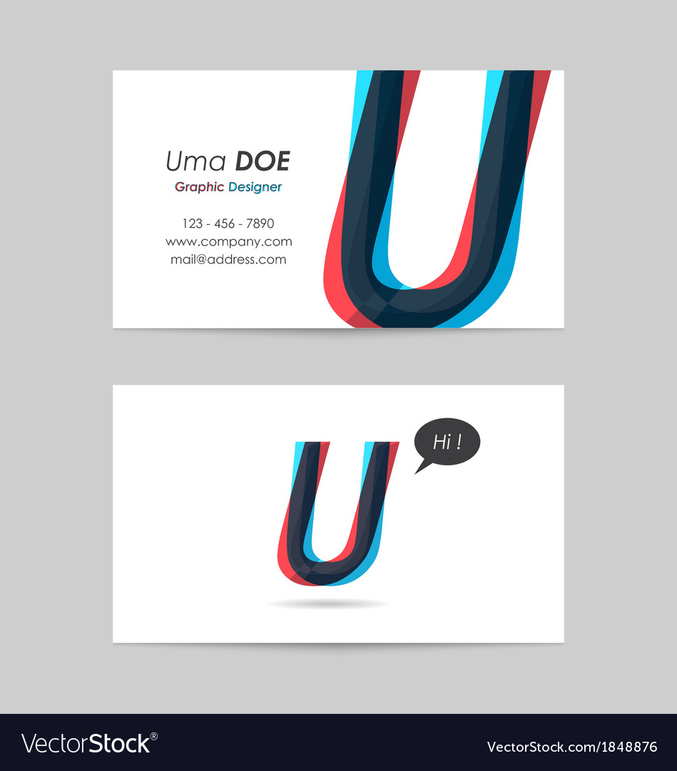 Business card template - letter u vector | Price: 1 Credit (USD $1)