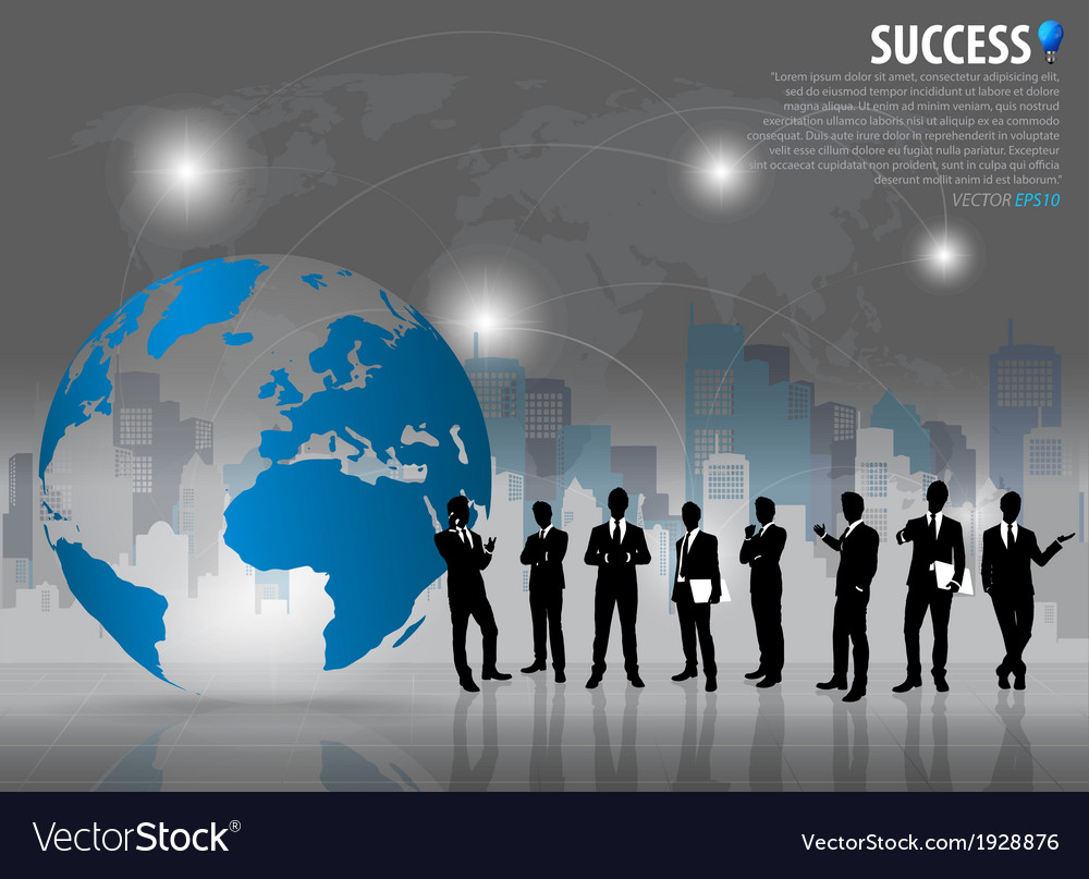 Business people silhouettes with building vector   Price: 1 Credit (USD $1)