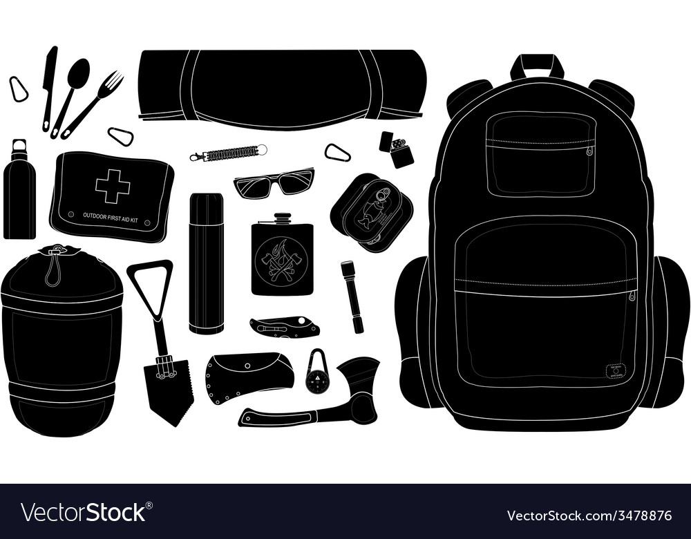 Camping set black vector | Price: 1 Credit (USD $1)