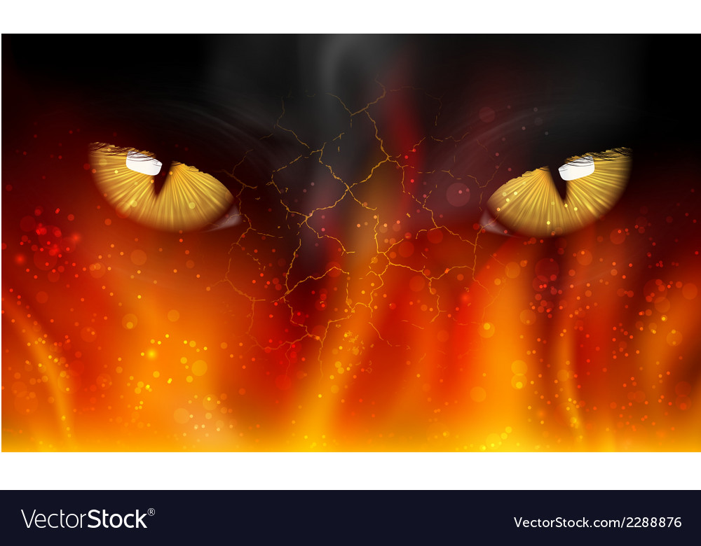 Cats eyes on fire vector | Price: 1 Credit (USD $1)