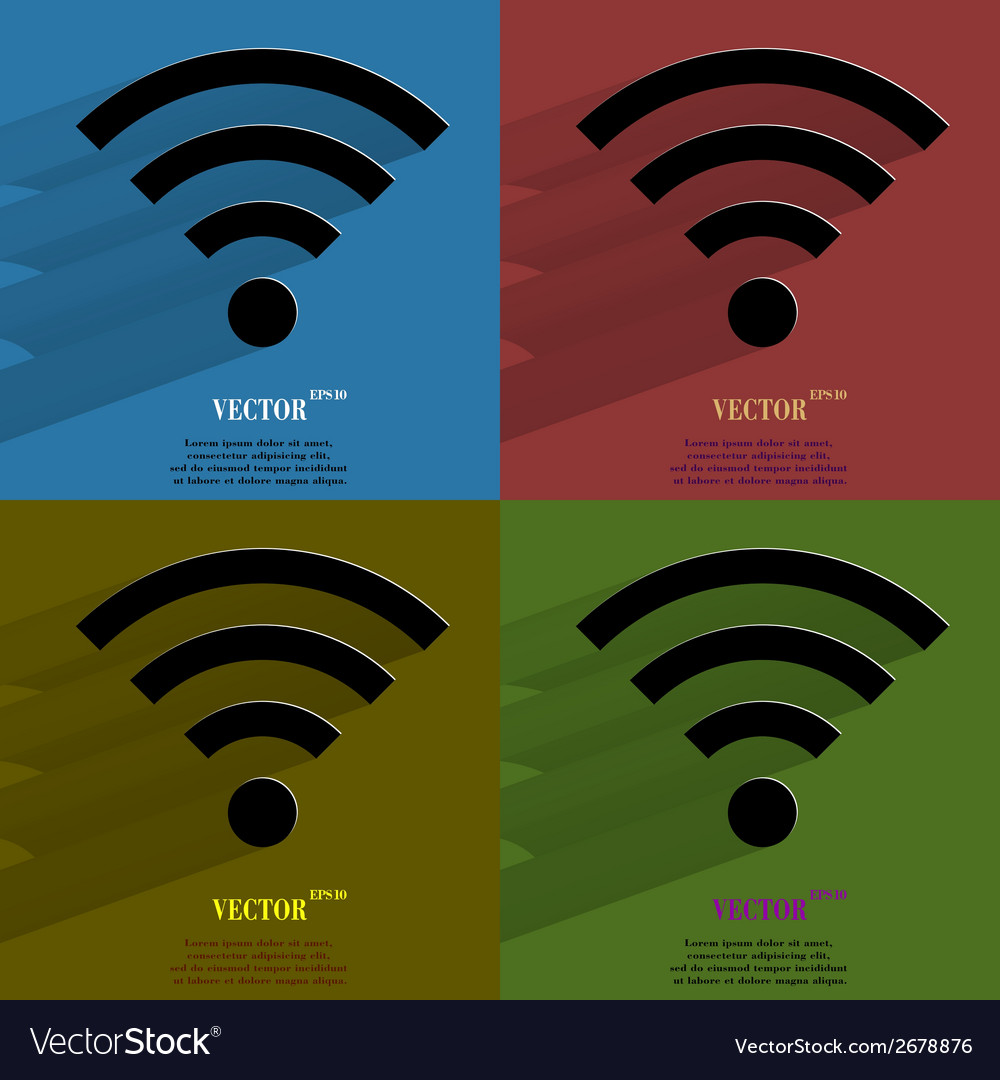 Color set wi-fi flat modern web button with long vector | Price: 1 Credit (USD $1)