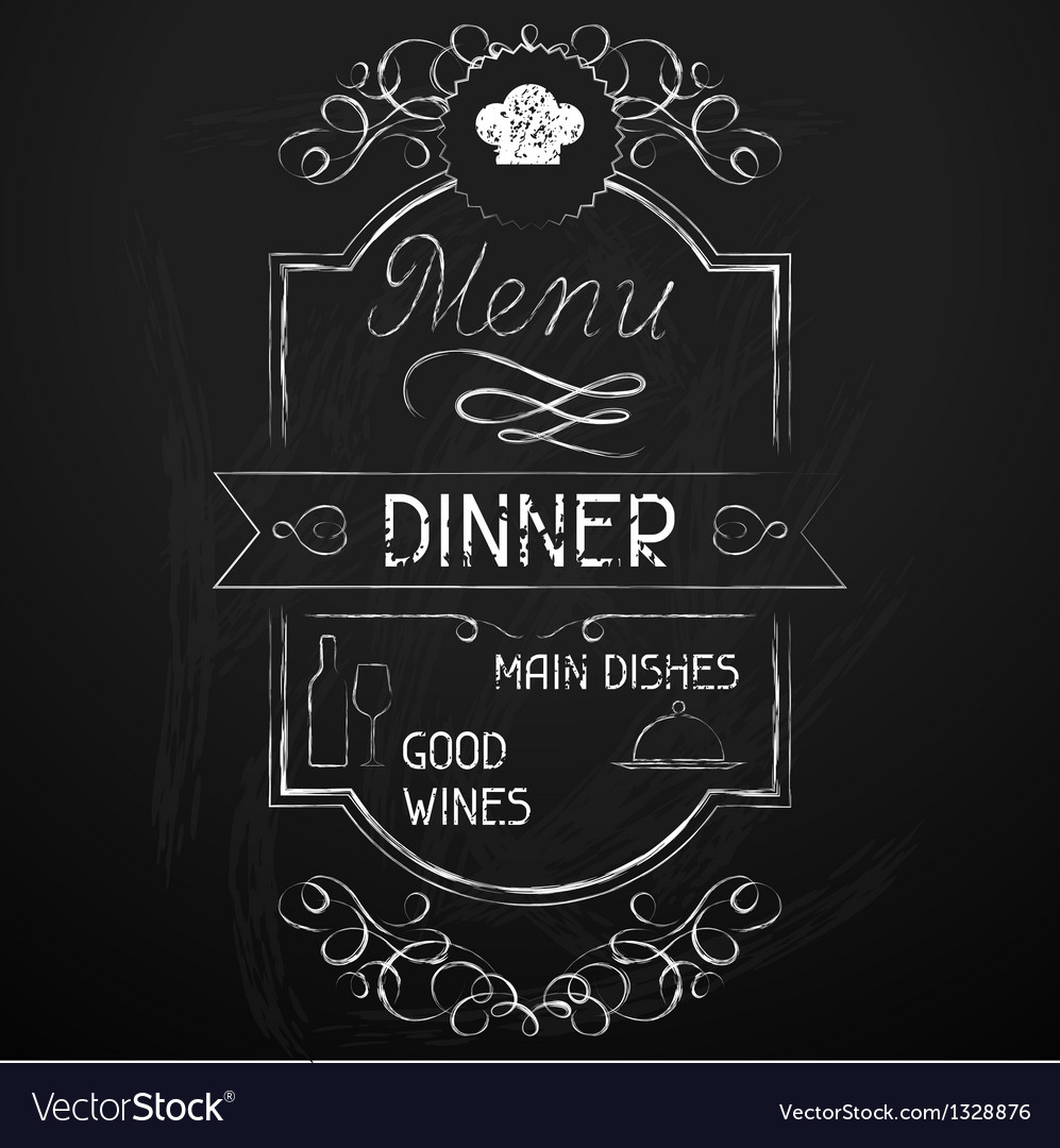 Dinner on the restaurant menu chalkboard vector | Price: 1 Credit (USD $1)