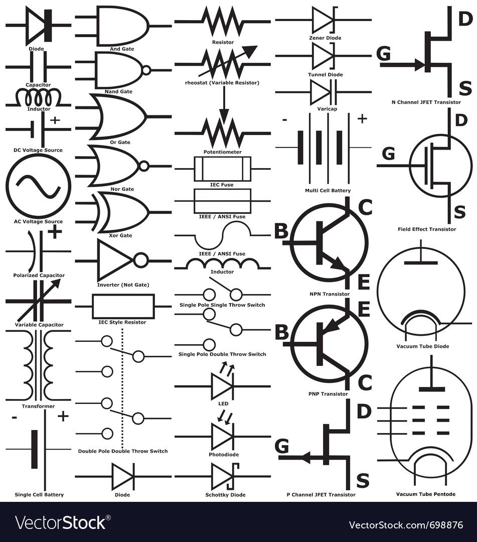 Electronic symbols vector   Price: 1 Credit (USD $1)