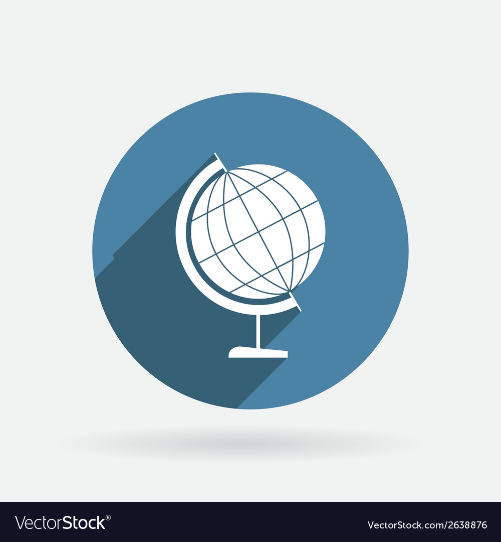 Globe circle blue icon with shadow vector | Price: 1 Credit (USD $1)