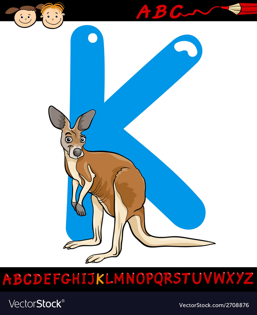 Letter k for kangaroo cartoon vector | Price: 1 Credit (USD $1)