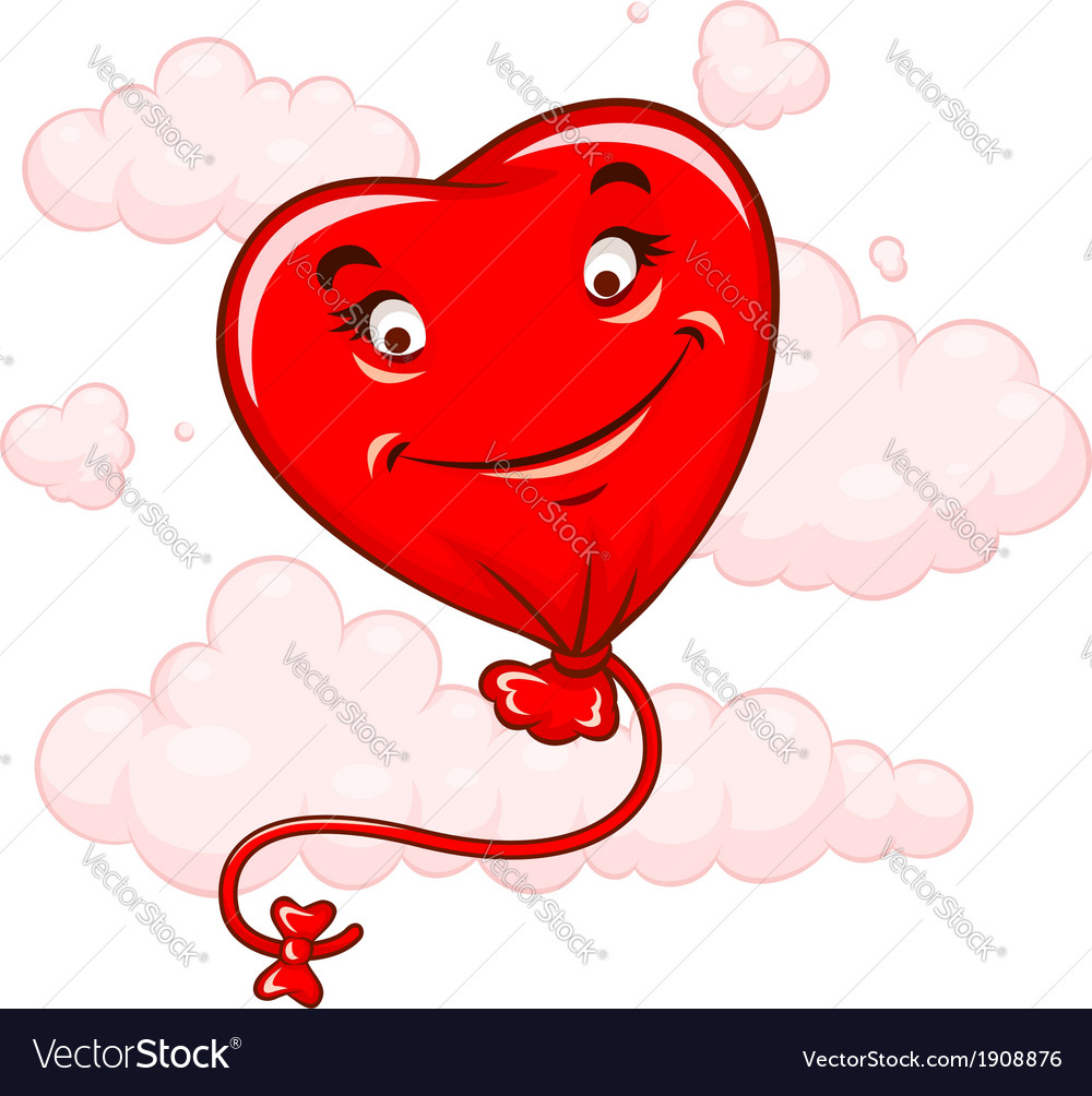 Red heart flying among clouds vector | Price: 1 Credit (USD $1)