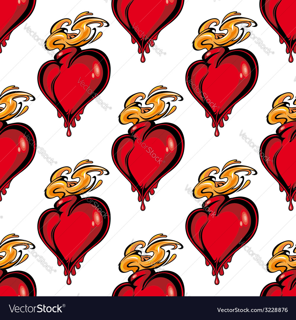 Seamless pattern of a flaming melting heart vector | Price: 1 Credit (USD $1)