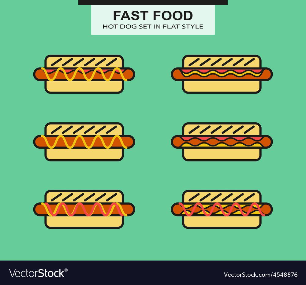 Set of different shape hotdog vector | Price: 1 Credit (USD $1)