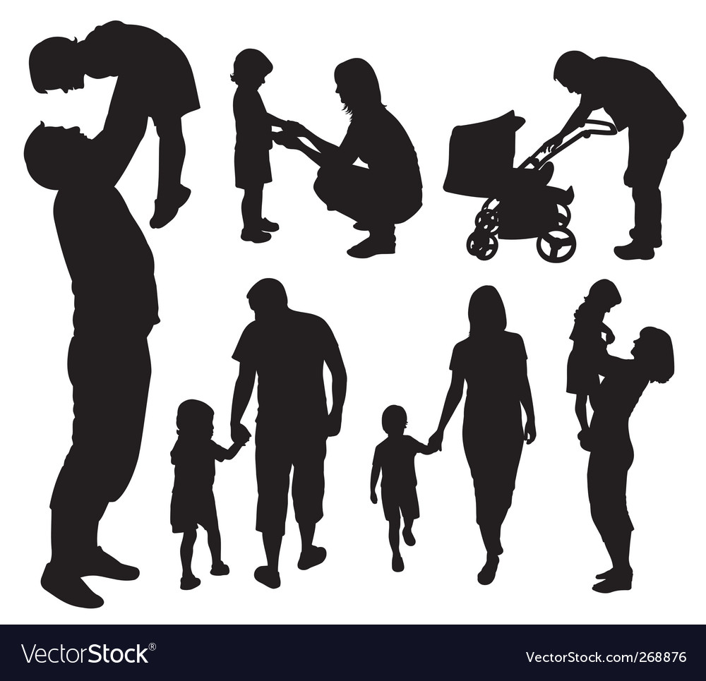 Set of family silhouettes vector | Price: 1 Credit (USD $1)
