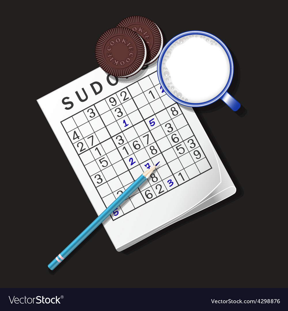 Sudoku game mug of milk and cookie vector | Price: 1 Credit (USD $1)