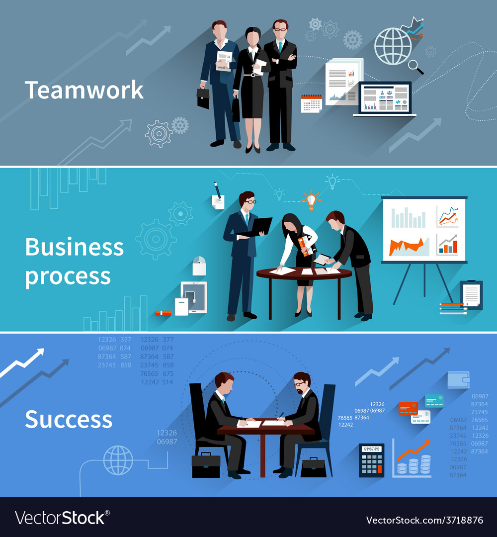Teamwork banners set vector | Price: 1 Credit (USD $1)