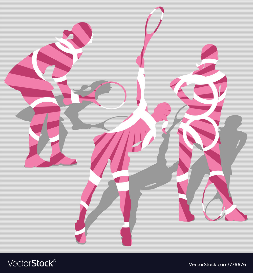Womens tennis sport silhouettes vector | Price: 1 Credit (USD $1)