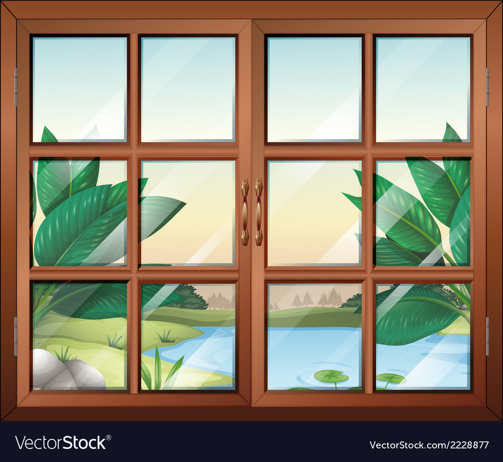A closed window with a view of the pond vector | Price: 1 Credit (USD $1)