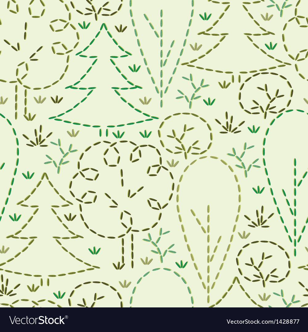 Embroidered forest seamless pattern background vector | Price: 1 Credit (USD $1)