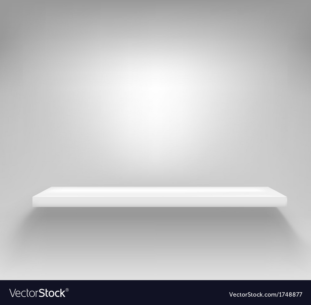 Empty white shelf hanging on a wall vector | Price: 1 Credit (USD $1)