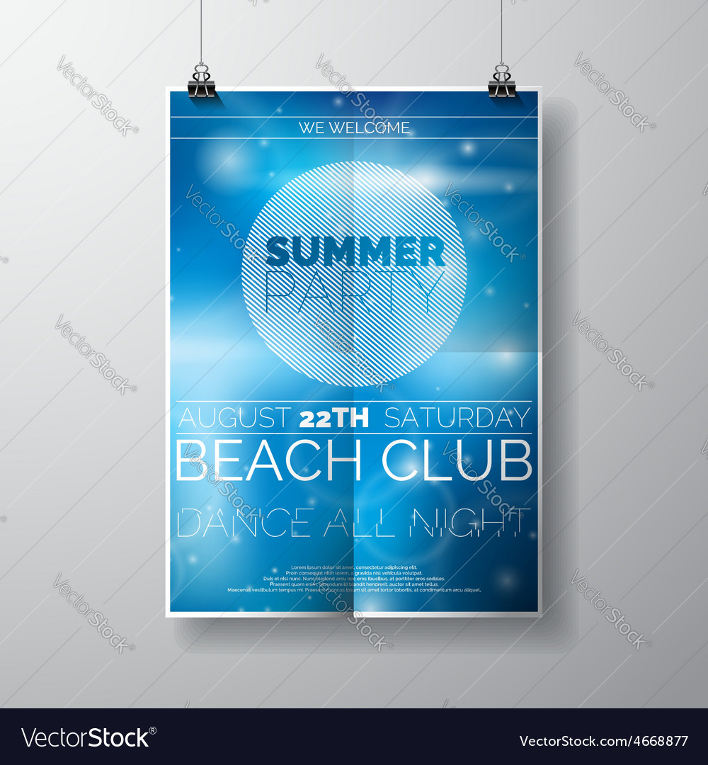 Party flyer poster template on summer beach theme vector | Price: 5 Credit (USD $5)