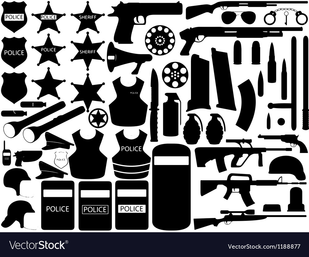 Police tools vector | Price: 1 Credit (USD $1)