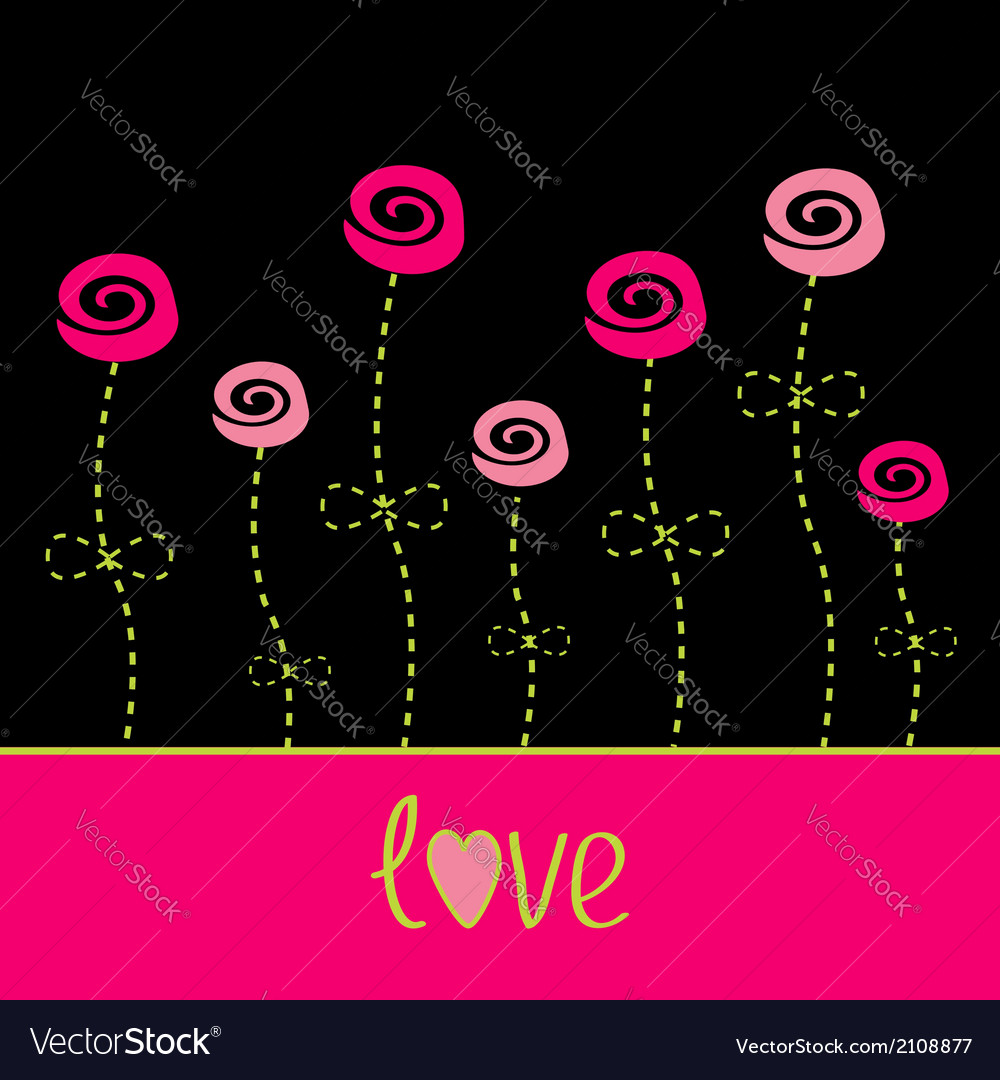 Roses with dash line stalks love card black pink vector | Price: 1 Credit (USD $1)