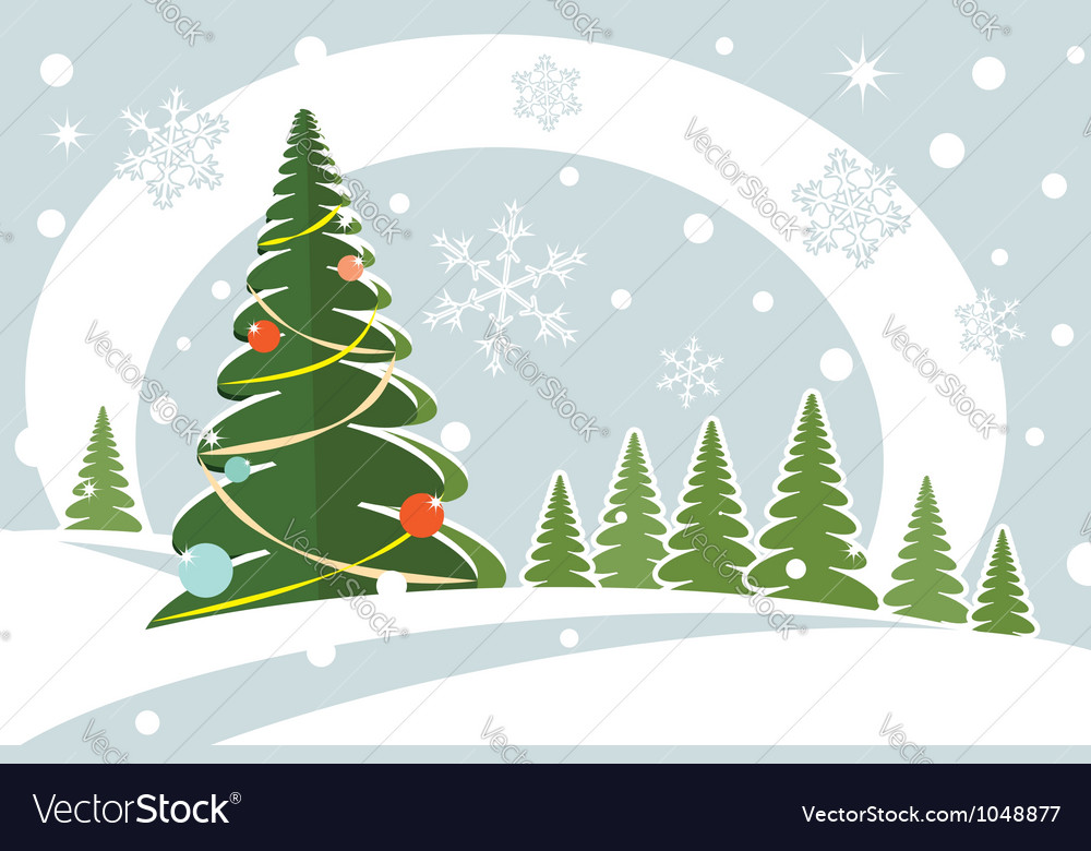 Snowy christmas firtree vector   Price: 1 Credit (USD $1)