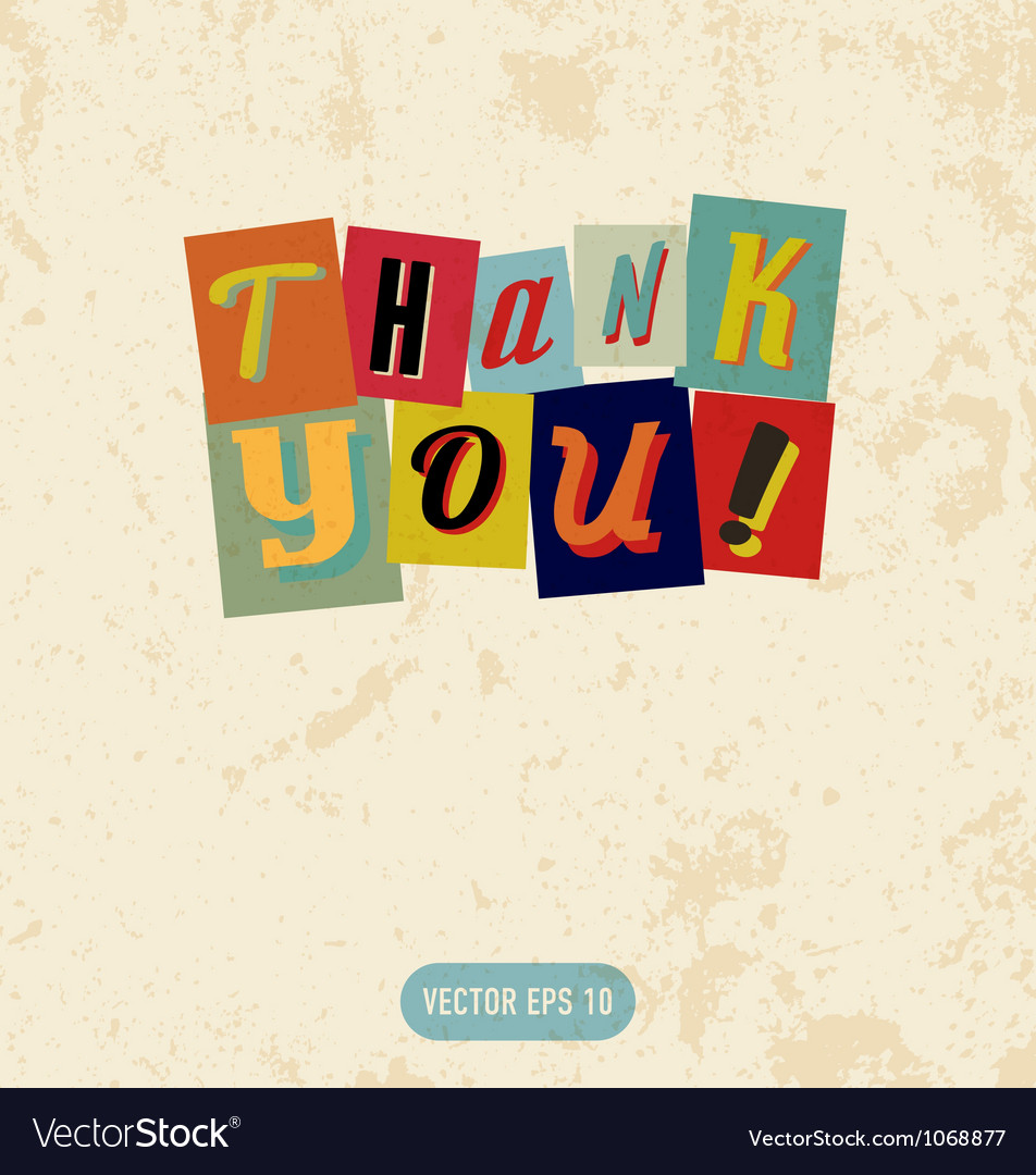 Thank you sign in retro doodle style vector | Price: 1 Credit (USD $1)
