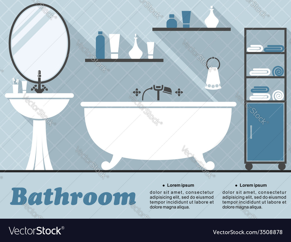 Blue bathroom interior infographic vector | Price: 1 Credit (USD $1)