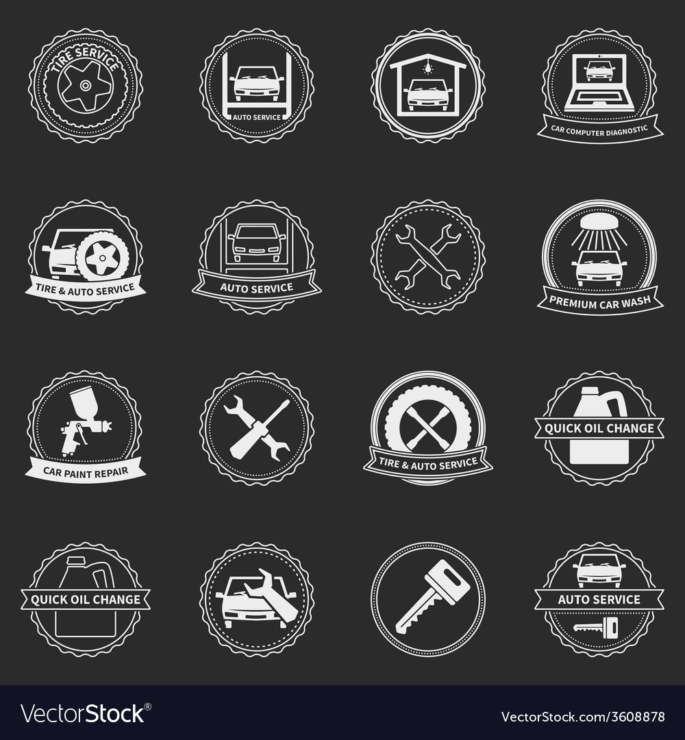 Car service emblems and badges vector | Price: 1 Credit (USD $1)