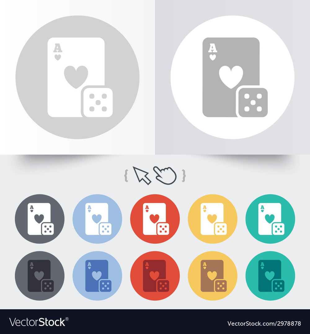 Casino sign icon playing card with dice symbol vector | Price: 1 Credit (USD $1)