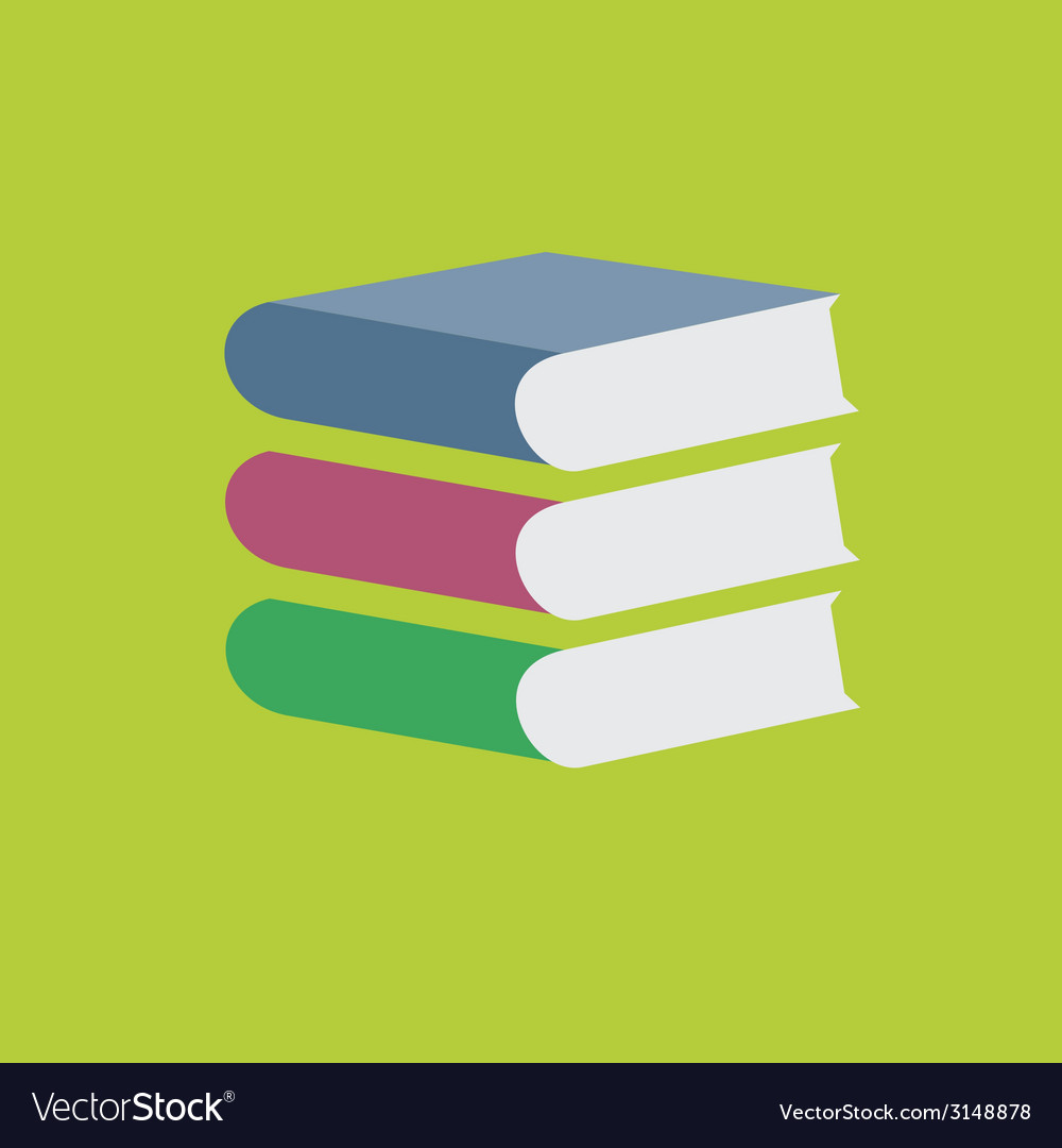 Colored books stack on green background vector | Price: 1 Credit (USD $1)
