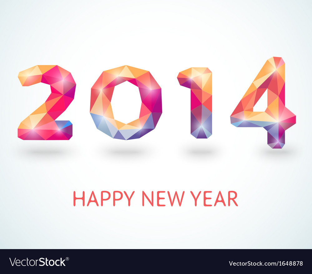 Happy new year 2014 colorful greeting card vector | Price: 1 Credit (USD $1)
