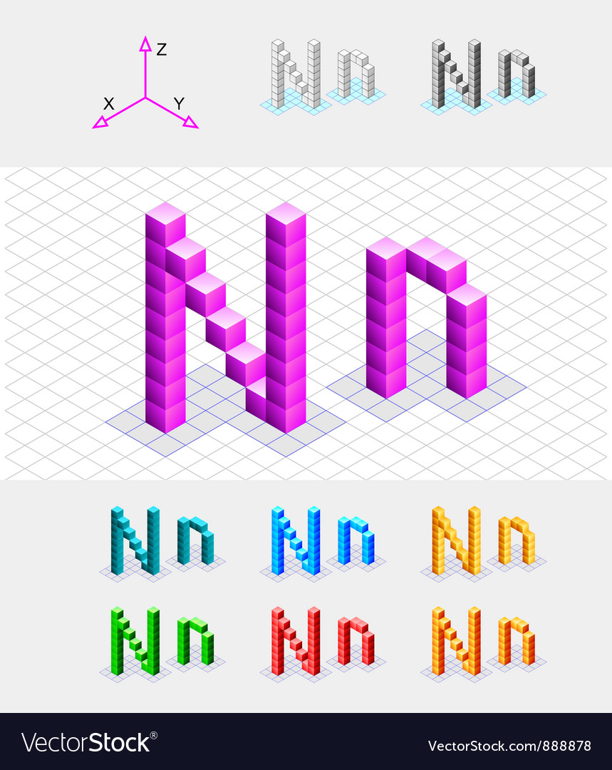 Isometric font from the cubes letter n vector | Price: 1 Credit (USD $1)