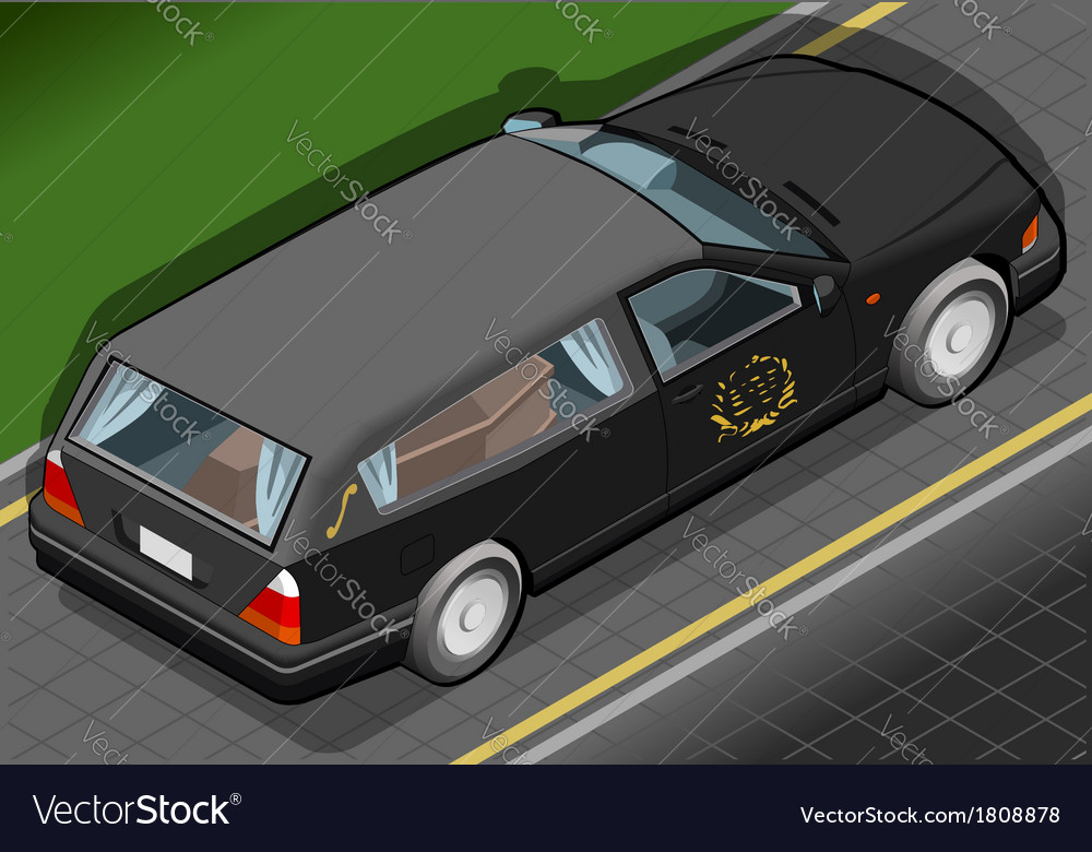Isometric hearse in rear view vector | Price: 1 Credit (USD $1)