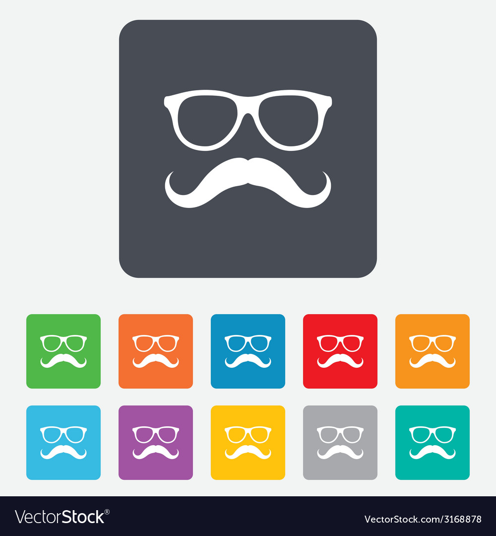 Mustache and glasses sign icon hipster symbol vector   Price: 1 Credit (USD $1)