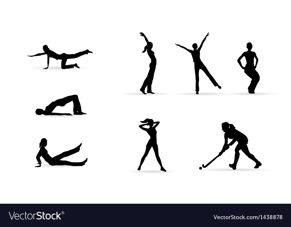 Sport fitness woman silhouettes vector | Price: 1 Credit (USD $1)