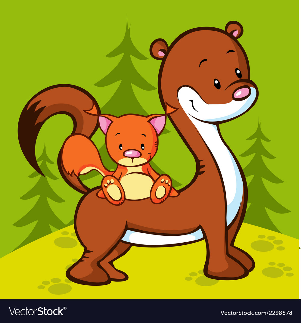 Weasel and squirrel in the wood vector | Price: 1 Credit (USD $1)