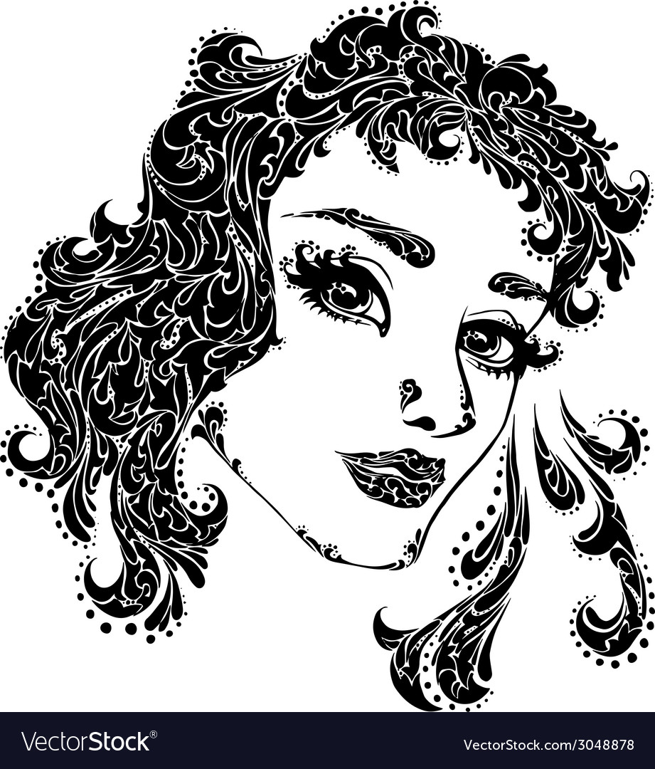 Woman face for tattoo vector | Price: 1 Credit (USD $1)