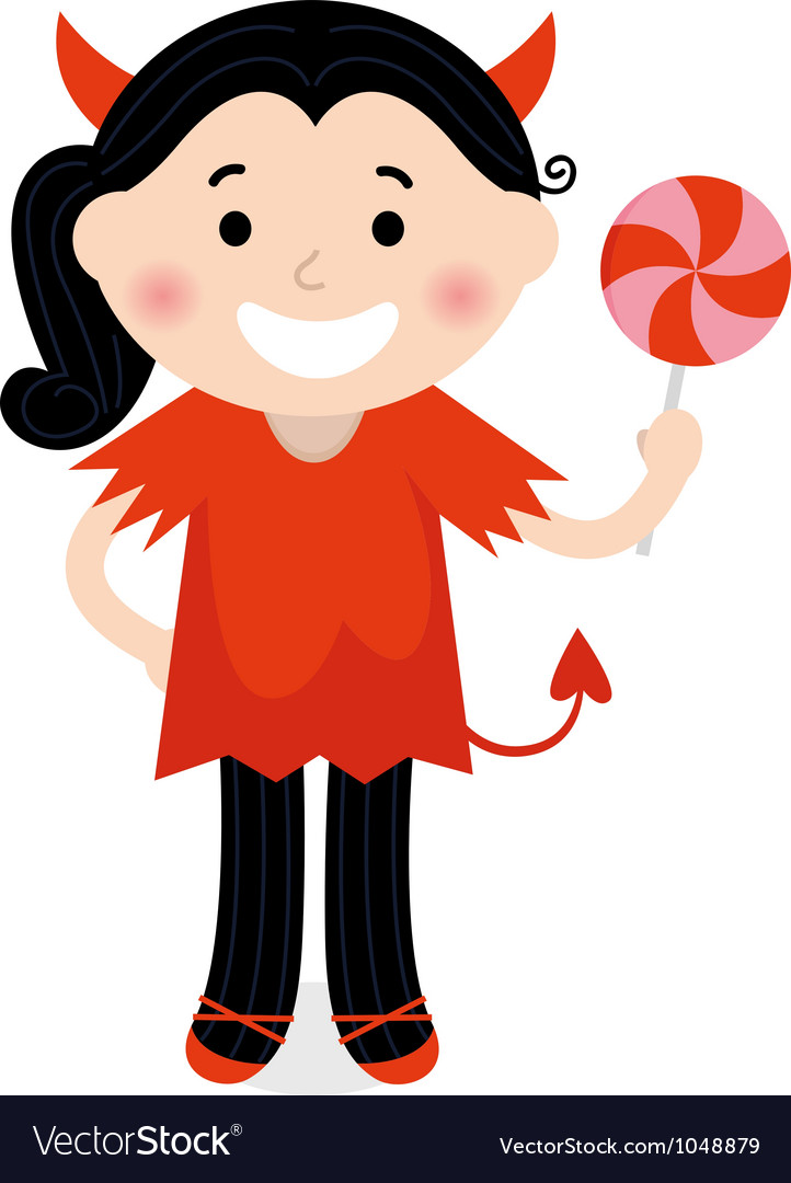 Cute little devil girl in red costume vector | Price: 1 Credit (USD $1)