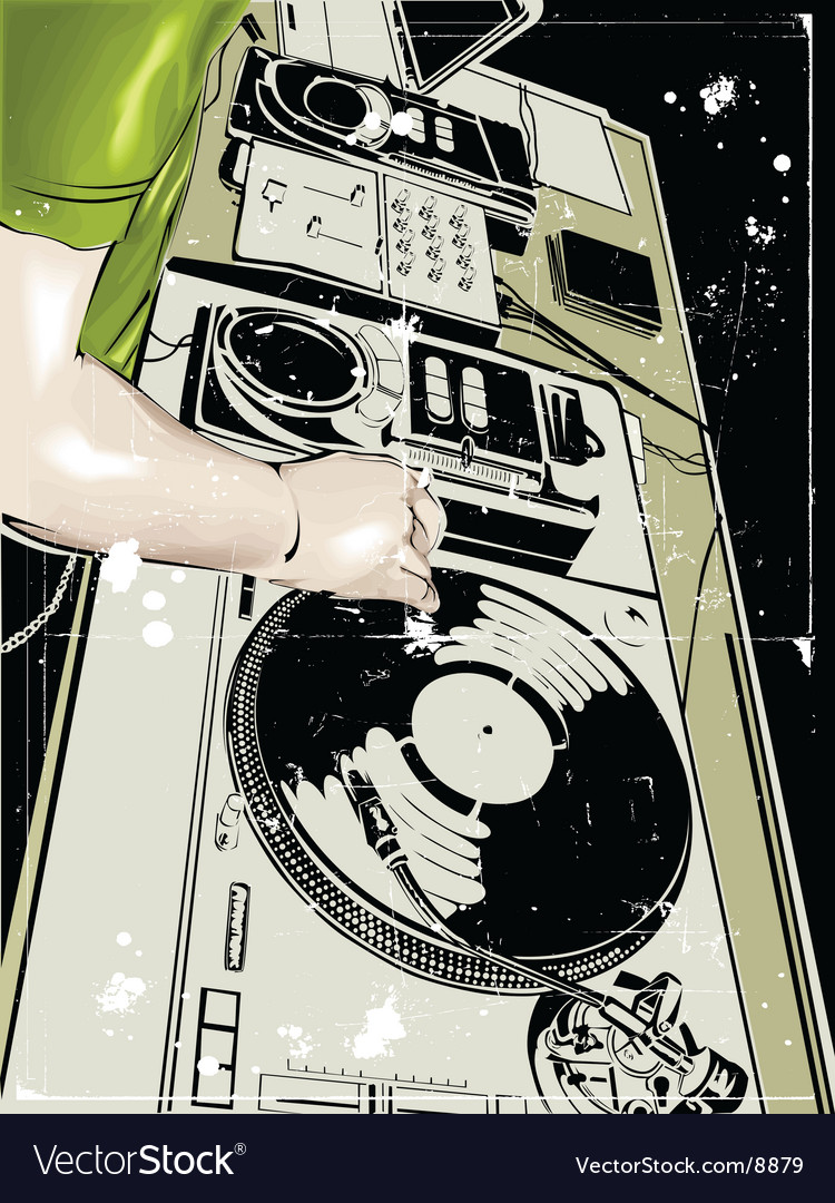 Dj and vinyl disc vector | Price: 3 Credit (USD $3)