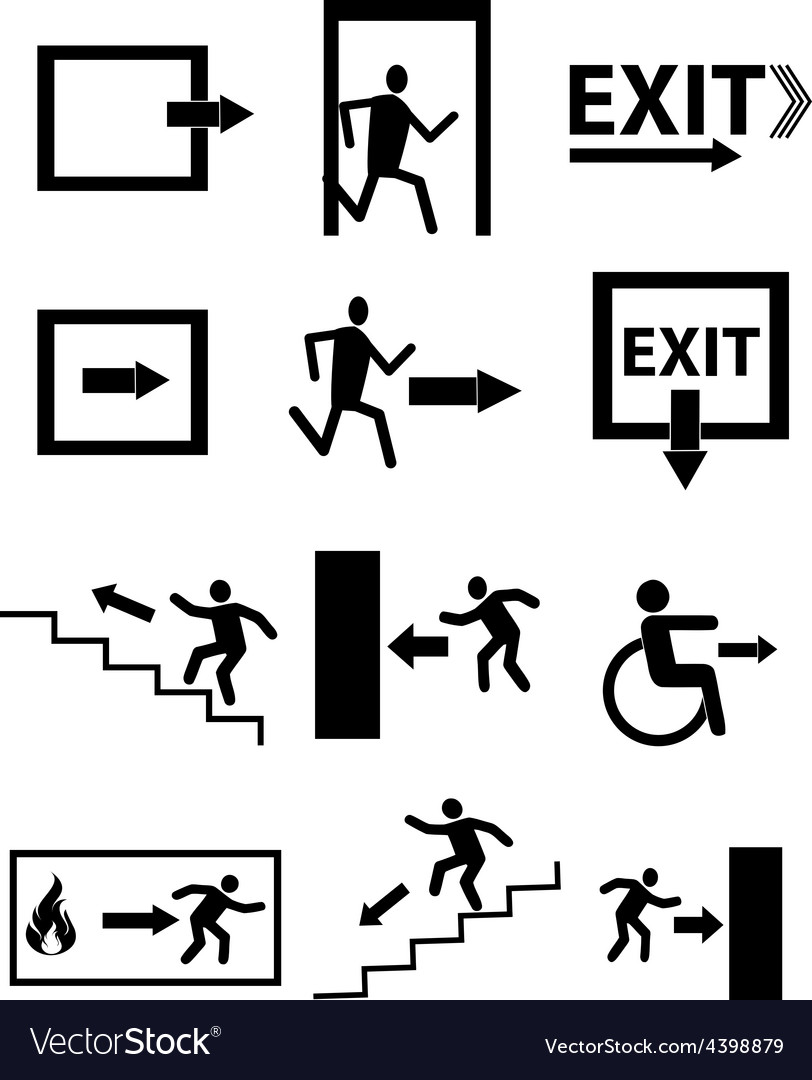 Exit sign icons set vector   Price: 3 Credit (USD $3)