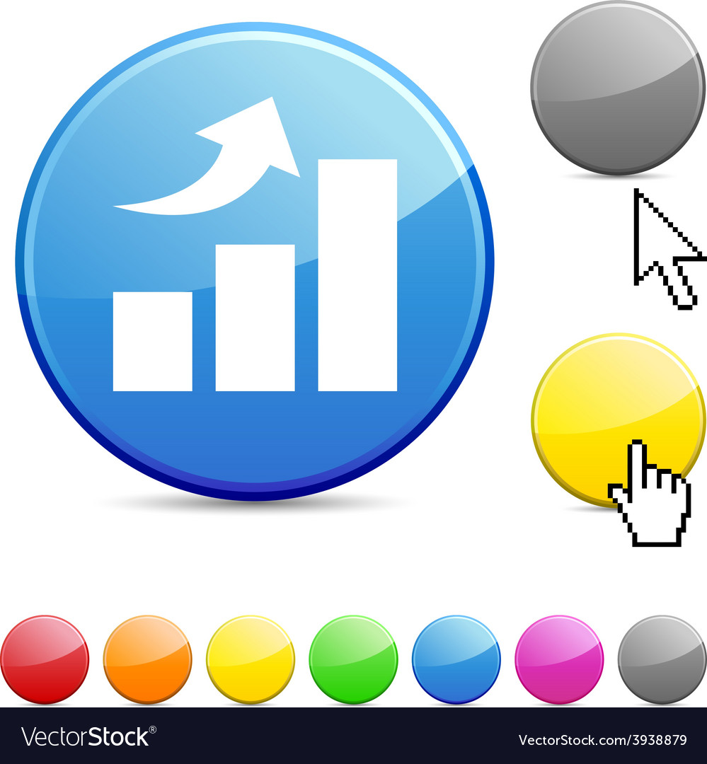 Growth glossy button vector | Price: 1 Credit (USD $1)