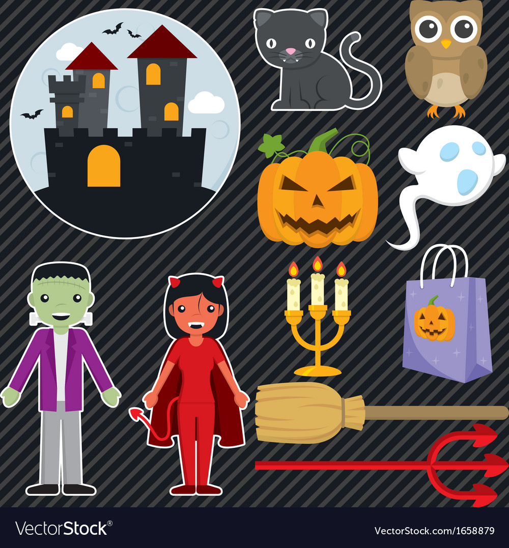 Halloween set 001 vector | Price: 1 Credit (USD $1)