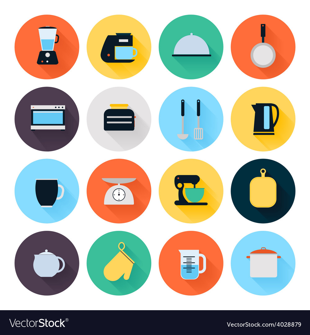 Kitchen utensils and cookware flat icons set vector | Price: 1 Credit (USD $1)