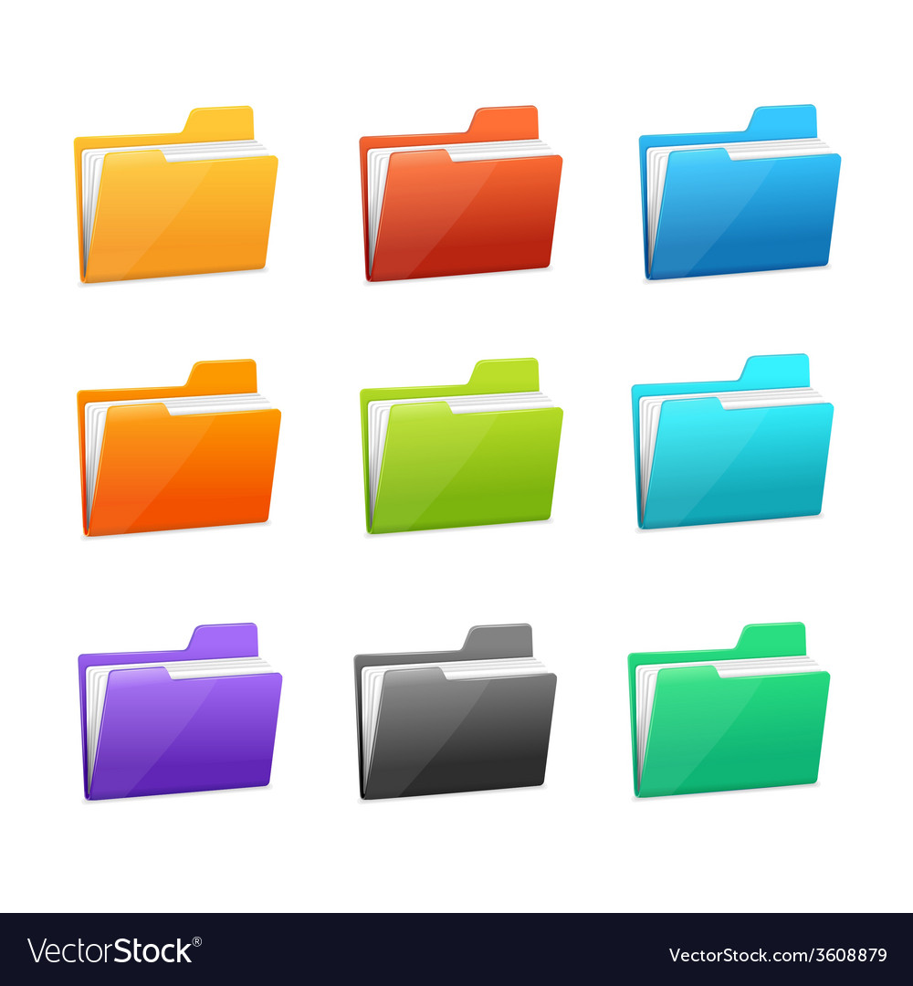 Many rainbow folders set on the white vector   Price: 1 Credit (USD $1)