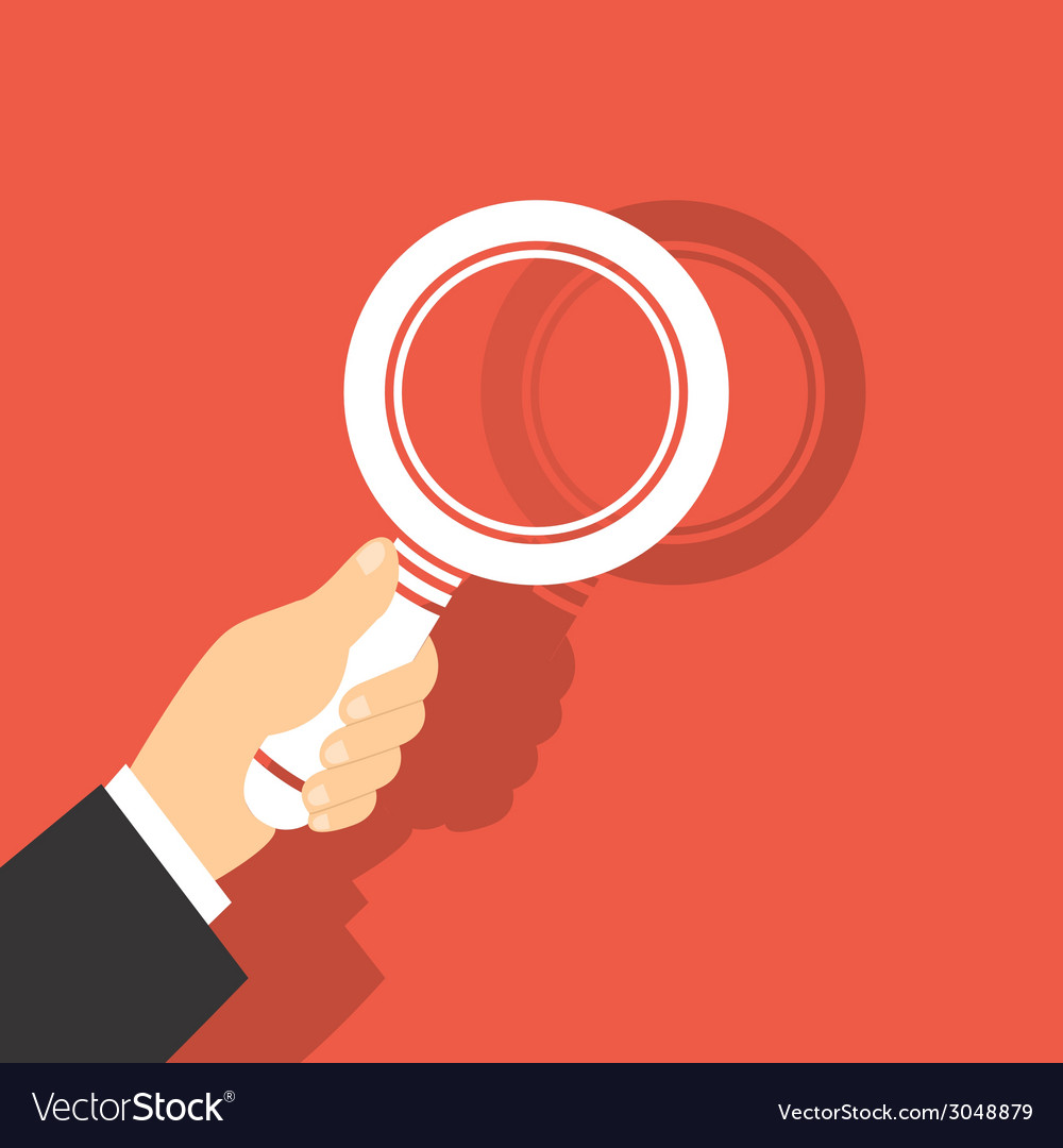 Of a magnifying glass in hand vector | Price: 1 Credit (USD $1)