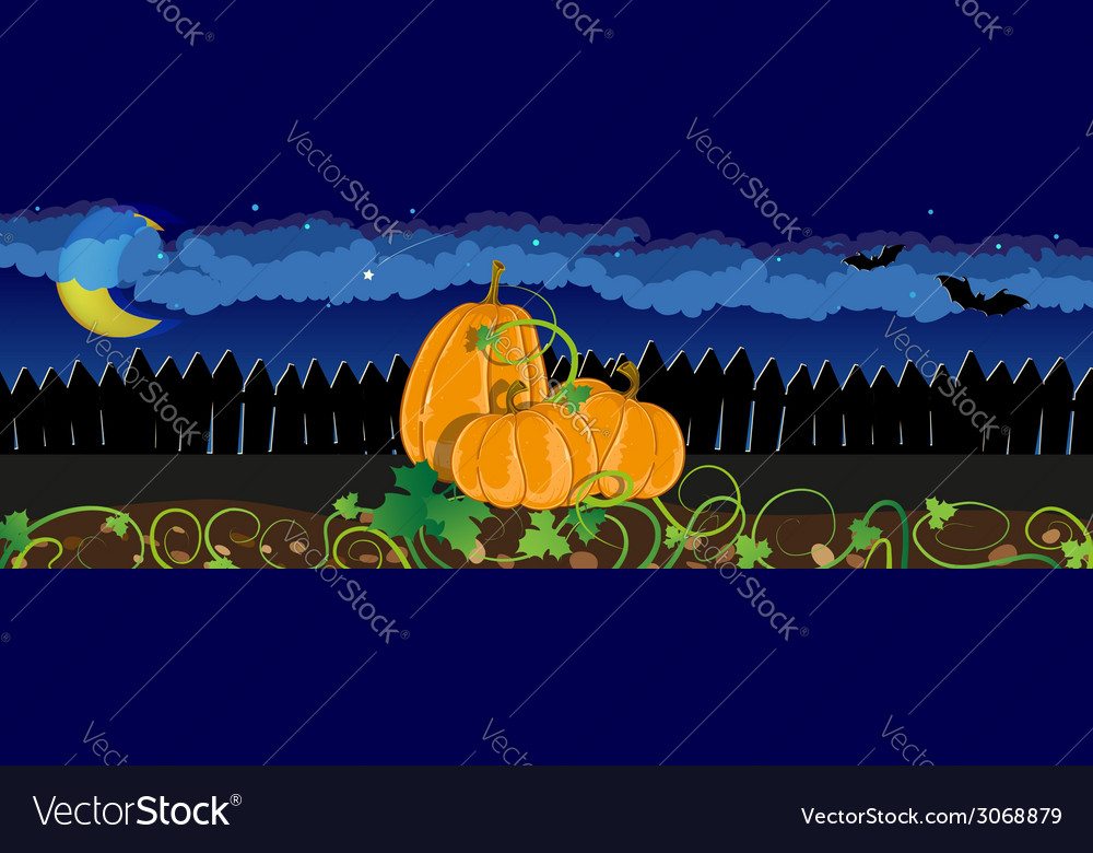 Pumpkins with sprouts and leaves vector | Price: 1 Credit (USD $1)