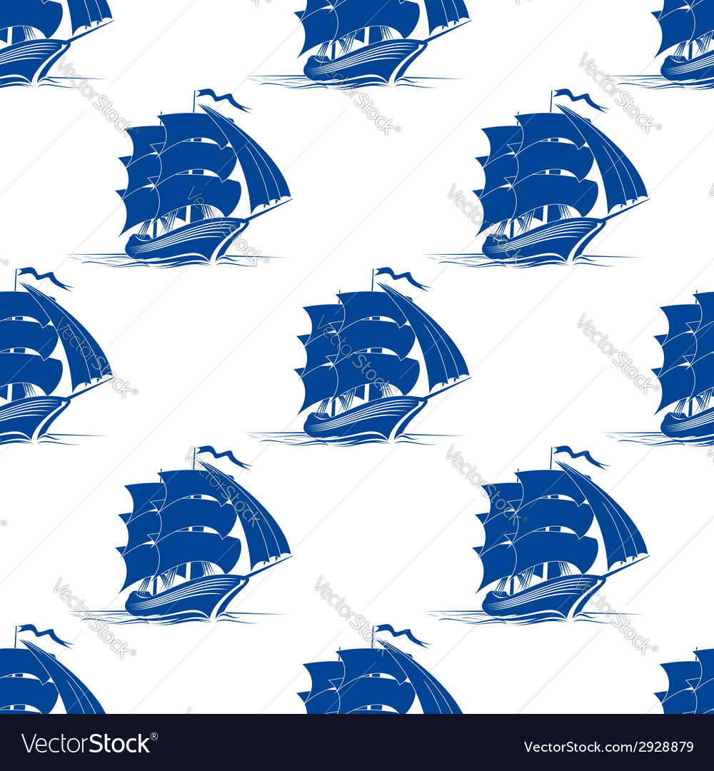 Seamless pattern of sailing ship vector | Price: 1 Credit (USD $1)