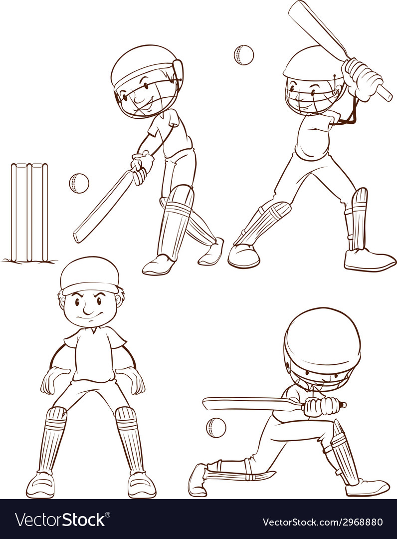 A simple sketch of the men playing cricket vector | Price: 1 Credit (USD $1)