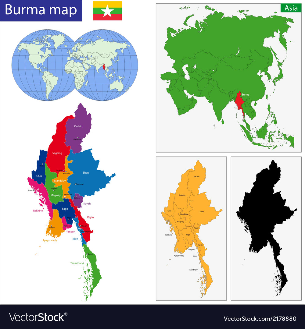 Burma map vector | Price: 1 Credit (USD $1)