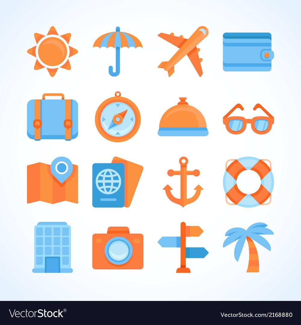 Flat icon set of travel symbols vector | Price: 1 Credit (USD $1)